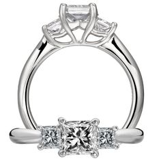 Classic engagement ring featuring a princess cut centerstone with a royal crown undergallery and princess cut diamond side stones with a solid metal shank.
