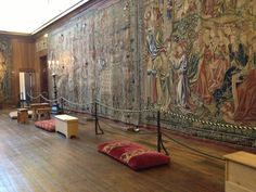 Henry VIII's tapestries at Hampton Court palace. Tapestries were so expensive that one was worth the same amount as a warship like the Mary Rose. These are made using silver and gold threads.