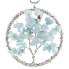 Amazon.com: SUNYIK Aquamarine Eternal Tree of Life Pendant Copper Plated: Jewelry