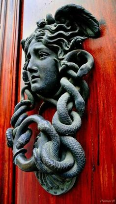 Medusa Door Knocker (don't look in her eyes get a mirror out to use this knocker you don't want to turn to stone.)