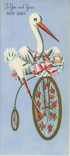 VINTAGE STORK BIRD RIDING TRICYCLE BIKE NEW BABY FLOWER ROSE CUTE CARD ART PRINT