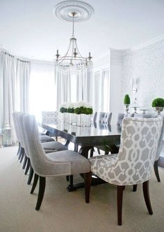Diningroom, like the idea of adding in patterned chairs
