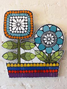 Retro Flowers Mosaic Wall Art