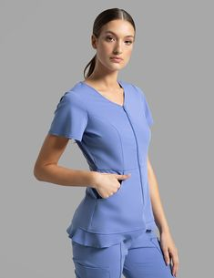 Modern Scrubs and Lab Coats for Men and Women by Jaanuu Cute Nursing Scrubs, Cute Scrubs, Stylish Scrubs, Beauty Uniforms, Scrubs Outfit, Medical Uniforms, Uniform Design, Medical Scrubs, Two Piece Outfit