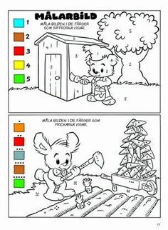 Educational Activities For Kids, Teaching Activities, Classroom Activities, Kids Learning, Learn Swedish, Color By Numbers, Learning Numbers, Math For Kids, Colouring Pages