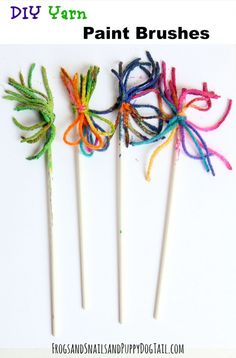 DIY Yarn Paint Brushes for kid crafts on FSDPT