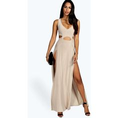 Boohoo Kirsty-Ann Slinky Cutout Thigh Split Maxi Dress (1,635 INR) ❤ liked on Polyvore featuring dresses, going out dresses, mini maxi dress, party dresses, going out maxi dresses and cut out mini dress