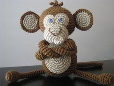 CROCHET PATTERN - Crochet Baby Boy or Girl Monkey Pattern - plush toy doll amigurumi brown tan stuffed animal step by step tutorial. $5.00, via Etsy.