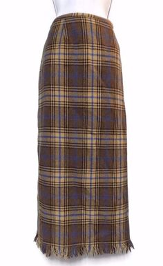 Women's J. London Brown Plaid Wool Blend Skirt with Fringe Modesty Size 14 #JLondon #Maxi