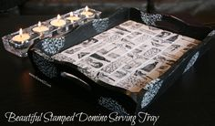 Stamped domino serving tray