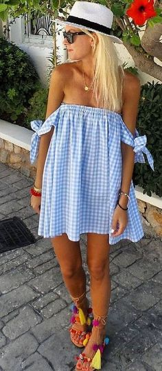 #summer #feminine #style |  Off The Shoulder Gingham Sunny Dress