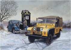 """""""Soon Have You Going Again"""". by Paul Atchinson - An AA Patrolman comes to the assistance of the driver of a Riley in difficult"""