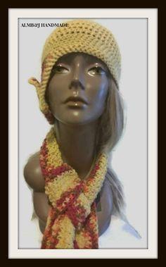 Side Brim Hat , Crochet Hat , Side Flap Hat  and Matching Crochet Scarf , Crochet Beanie , Crochet Mesh Cap , Crochet Mesh Beanie