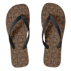 65015b78d3f8 Brown Black Woven Motif Wide Shoe Flip Flops - shower gifts diy customize  creative Wide Shoes