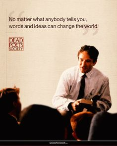 15 Inspiring Dead Poets Society Quotes That'll Remind You Why It's Such An Influential Film Famous Film Quotes, Movie Quotes, Book Quotes, Funny Quotes, Famous Poets, Life Quotes, The Words, Words To Use, Cool Words