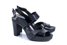 High Heel Sandals in black patent leather and reptile. Available in www.bravojava.net