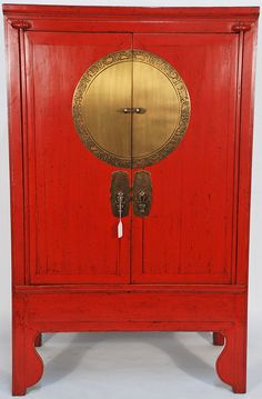 IDEA------Antique Chinese wedding cabinet - Now ,most people don't like this color (RED) .This cabinet might be with long history.