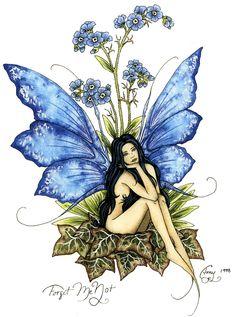 Amy Brown Fairy Art Postcard Forget Me Not Blue Fairy Fantasy Kunst, Fantasy Art, Elfen Tattoo, Arte Elemental, Elfen Fantasy, Amy Brown Fairies, Dark Fairies, Fairy Drawings, Fairy Tattoo Designs