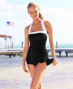 Lauren by Ralph Lauren Swimsuit, Halter Ruched Tummy Control Swimdress - Womens Swimwear - Macy's