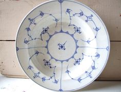 Danish antique Soup Plate Blue Fluted by andthebigbadwolf on Etsy, $39.00