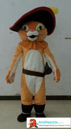 Adult size Puss in the boots mascot costume, cartoon mascot , mascotte,Maskottchen Kostüm