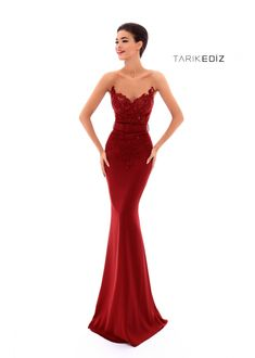 Tarik Ediz- Spring Summer 2018 Evening Collection Style #93422 | Figure-hugging Matte Satin Mermaid Dress | Also Available in Navy, Silver, and Stone