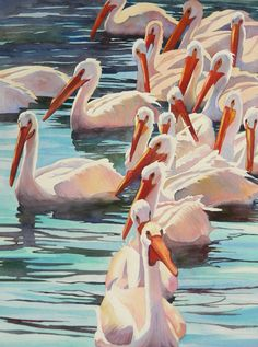 Anne Abgott, Lots of Pelicans, watercolor. Art Watercolor, Watercolor Animals, Art And Illustration, Images D'art, Wow Art, Animal Paintings, Bird Art, Art Techniques, Painting Inspiration