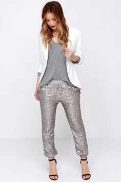 Amuse Society Mason Silver Sequin Jogger Pants at Lulus.com!