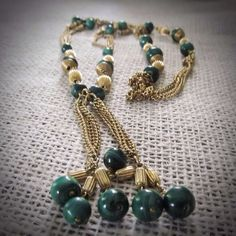 Gold vintage necklace with gold and green stone by HollyODesigns, $50.00