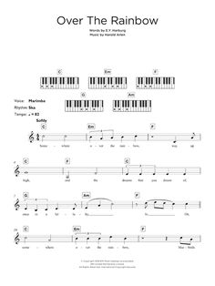 "New piano sheet music on Modern Score : Israel ""Iz"" Kamakawiwo'ole: Over The Rainbow (from ""The Wizard Of Oz"") - Partition Synthétiseur - € Partition Synthétiseur Piano Songs, Violin Music, Music Songs, Piano Tabs, Guitar Tabs, Keyboard Sheet Music, Piano Sheet Music, All About Me Printable, Rainbow Words"