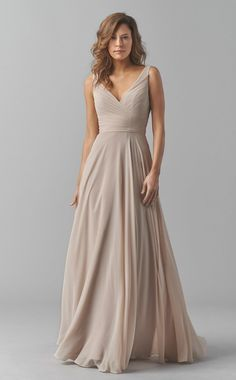 Chiffon Long Beige V Neck Bridesmaid Dress BD-CA1455