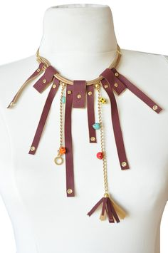 Leather look fringe necklace - Chain and Leather necklace. $22.00, via Etsy.