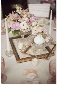 A really unusual and pretty centerpiece for shabby chic country vintage wedding