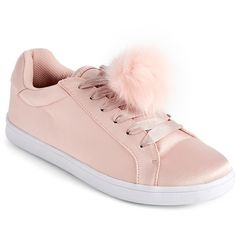 Madden Girl Blush Baabee Satin Pom-Pom Sneakers ($27) ❤ liked on Polyvore featuring shoes, sneakers, pink, fleece-lined shoes, laced shoes, embellished shoes, lace up shoes and lace up sneakers