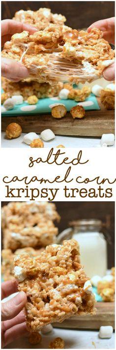 Salted Caramel Corn Krispy Treats Easy Dessert Recipe Stovetop or Microwave Super Soft