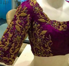Maggam work blouse designs are the forefront of current machine embroidery trends; Here's 21 maggam work blouse designs. Blouse Designs Catalogue, Best Blouse Designs, Wedding Saree Blouse Designs, Blouse Neck Designs, Blouse Styles, Wedding Blouses, Blouse Patterns, Dress Designs, Zardosi Work Blouse