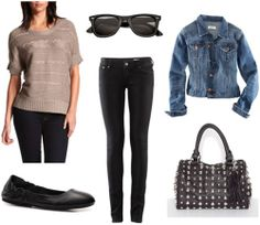How to wear a Charlotte Russe metallic sweater with a denim jacket, studded bag, flats, and shades