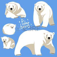 grizzly bear: Polar Bears collection. Clip art isolated on blue Illustration