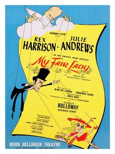 Vintage Theatre Poster - My Fair Lady - Mark Hellinger Theatre - Broadway - New York (Al Hirschfeld, 1956)