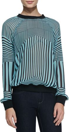 Love this: Intersection Striped Georgette Sweatshirt @Lyst