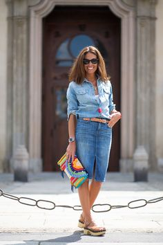 There's nothing more stylish than an all-denim outfit for summer 2015. Get more outfit ideas from the best street style in Milan here: