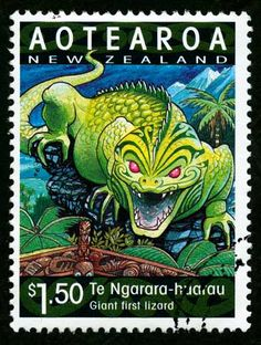 Ngārara Huarau, depicted on this stamp, was a giant taniwha resembling the lizard-like native tuatara. There are varying tribal traditions relating to Ngārara Huarau. Postage Stamp Design, Postage Stamps, New Zealand North, Year Of The Dragon, Maori Art, Kiwiana, Cryptozoology, Stamp Collecting, Pin Collection