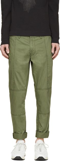 Marc by Marc Jacobs Military Green Twill Martin Trousers