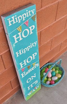 Make a Hippity Hoppity Easter Sign! (instead of banner, have eggs, rabbits and chicks between words)