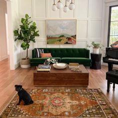 Living Room Green, New Living Room, Home And Living, Emerald Green Sofa, Interiores Design, Living Room Designs, Fiddle Leaf, Fiddle Fig, Decoration