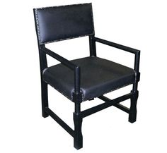 NOIR Furniture - Leather Square Arm Chair, Black - GCHA106A