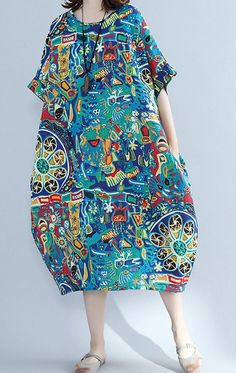 Women loose fit over plus size extract flower pocket dress tunic robe pregnant Summer Outfits Women, Casual Dresses For Women, Dress Casual, Clothes For Women, Petite Dresses, Linen Dresses, Cotton Dresses, Over 50 Womens Fashion, Boho Fashion