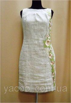 Румяна. Платье с вышивкой по одному боку. Серый лен. Светлый лен, цена 750 грн., купить в Харькове — Prom.ua (ID#38749170)