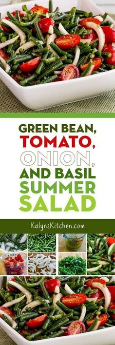 Seriously, this Green Bean, Tomato, Onion, and Basil Summer Salad was SO AMAZING! And this wonderful salad is low-carb, gluten-free, dairy-free, vegan, Paleo, Whole 30, and South Beach Diet friendly, so I'd say that makes it perfect for just about everyone! And if you like fresh green beans and tomatoes this is a must-make salad for summer.
