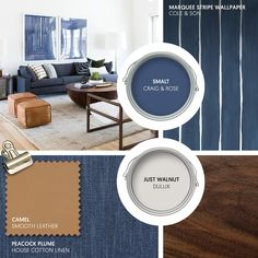 Monday Moodboard - Mid-Century Modern meets the Mediterranean with retro inspired furniture in shades of deep blue, tan and walnut. Keep walls white and add abstract prints for maximum impact. Blue Wall Colors, Room Wall Colors, Blue Lounge, Living Room Color Schemes, Paint Colors For Living Room, Tan Sofa, Mediterranean Living Rooms, Beautiful Sofas, Lounge Decor